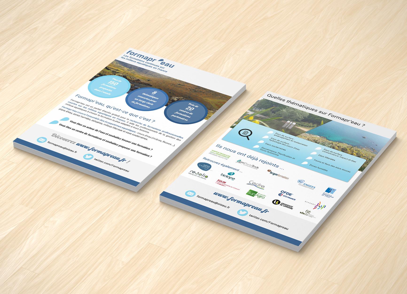 Flyer de présentation du site Formapr'eau (recto & verso)