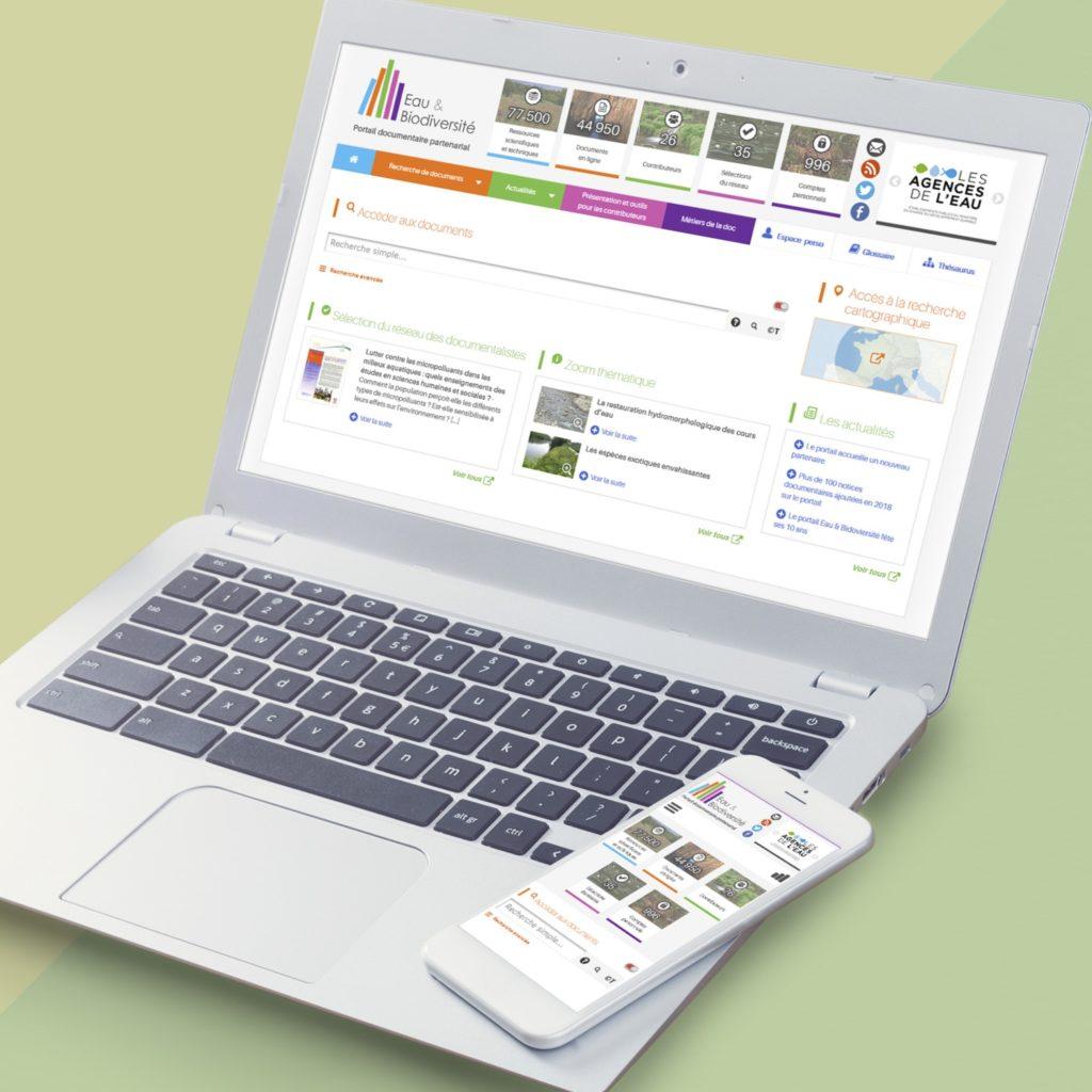 Maquette de page d'accueil responsive design d'un portail documentaire